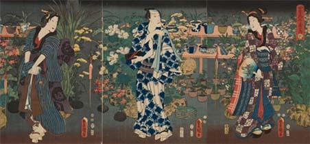 歌川国貞(三代豊国)画「四季花くらべの内 秋」