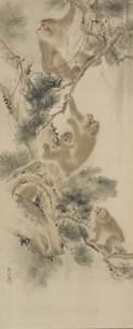 森狙仙(もりそせん) 「滝に松樹遊猿図」(たきにしょうじゅゆうえんず)江戸時代/ 19 世紀 紙本淡彩 2 幅対