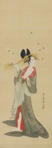 鳥文斎栄之(ちょうぶんさいえいし) 「遊女と蛍図」(ゆうじょとほたるず)江戸時代/ 18 -19 世紀 絹本着色 1 幅
