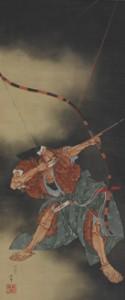 葛飾北斎(かつしかほくさい)「源頼政の鵺退治図」(みなもとのよりまさのぬえたいじず)江戸時代/ 弘化4 年(1847) 絹本着色 1 幅