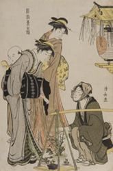 鳥居清長画「風俗東之錦 植木売り」天明3~4年(1783~84) 個人蔵
