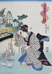 歌川芳玉画「見立松竹梅の内 うゑ木売の梅」弘化年間(1843~47年)個人蔵