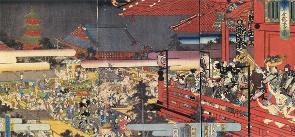 浅草金龍山市の図 豊原国周 画 1858年(安政5)江戸東京博物館蔵