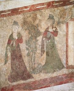 壁画「宮女図」