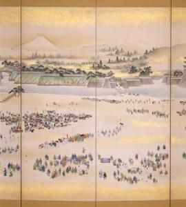 江戸城年始登城風景図屏風(部分)
