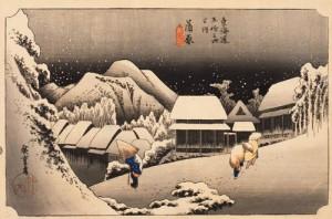 歌川広重 「東海道五拾三次之内 蒲原(かんばら)夜之雪」 天保(1830~1844)中期