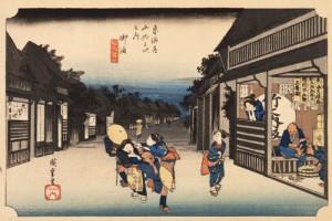 歌川広重 「東海道五拾三次之内 御油(ごゆ)旅人留女」 天保(1830~1844)中期