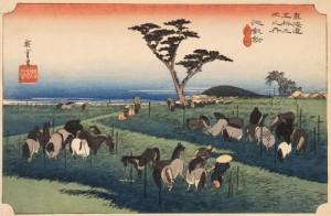 歌川広重 「東海道五拾三次之内 池鯉鮒 首夏馬市」 天保(1830~1844)中期