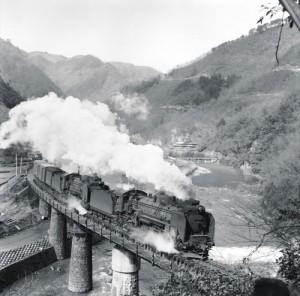 D51形蒸気機関車の牽く貨物列車