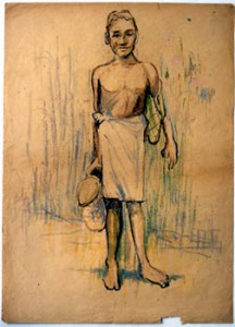 ヤシの葉のバッグを持つ少年 水木しげる 1945年頃(c)水木プロダクション