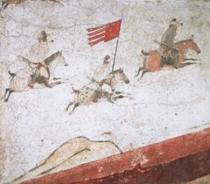 章懐太子墓壁画「狩猟出行図」