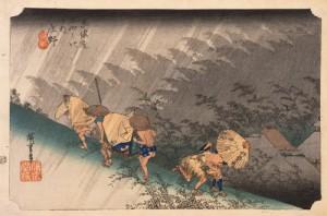歌川広重 「東海道五拾三次之内 庄野(しょうの)白雨」 天保(1830~1844)中期