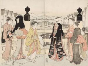 鳥居清長 「日本橋の往来」