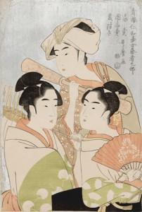 喜多川歌麿 「青楼仁和嘉女芸者之部 扇売 団扇売 麦つき」