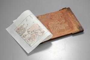 15編15丁の肌色の版木と、摺り上ったタコの絵