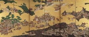 [一の谷・屋島合戦図屏風]左隻 江戸時代/神戸市立博物館蔵