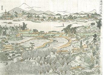鍬形蕙斎紹真「角田川花屋敷梅屋図」の画像