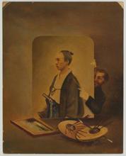 横山松三郎「丁髷の男と外国人」   (写真油絵、コラージュ)