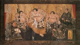 絵馬「陣幕土俵入り」歌川国輝(二代)画 1867 年(慶応3) 浅草寺蔵