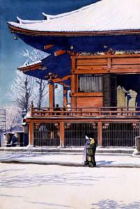 「東京二十景 浅草観音の雪晴」原画