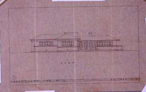山縣邸立面図(計画のみ)1926年 土浦亀城設計 江戸東京博物館蔵