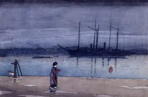 「東京二十景 明石町の雨後」原画