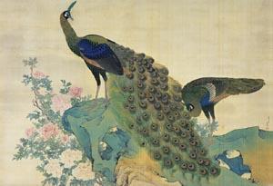 重要文化財「牡丹孔雀図」 明和8年(1771) 大阪・萬野美術館