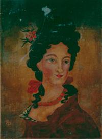 ≪西洋婦人図≫(複製) 伝平賀源内 麻布油彩 神戸市立博物館所蔵