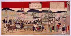 東京名所之内銀座通煉瓦造鉄道馬車往復之図 1882年(明治15)