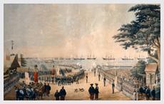 ペリー横浜来航図  ハイネ / 画 1855 年