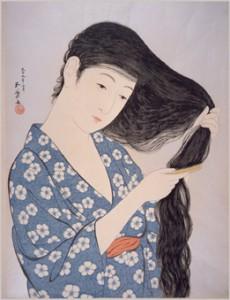 橋口五葉「髪梳ける女」 1920年(大正9) 江戸東京博物館蔵