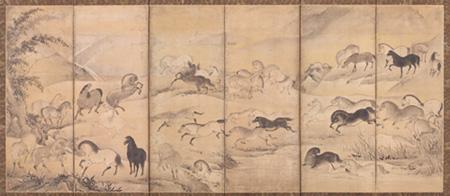 狩野山楽 「牧馬図屏風」