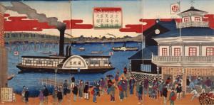東京両国通運会社川蒸気往復盛栄真景之図