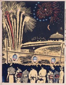 昭和大東京百図絵版画完制判 第六十六景 両国の川開き