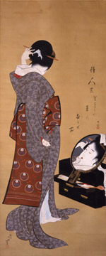 葛飾北斎「鏡面美人図」(文化2年頃)