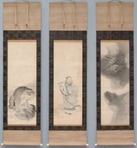 東方朔龍虎図 (とうぼうさくりゅうこず) 寛政2年(1790) 絹本墨画淡彩 3幅対 個人蔵
