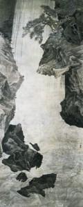 「大瀑布図」 安永元年(1772) 362.8×144.5cm 萬野美術館蔵
