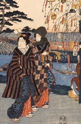 歌川広重 「東都名所年中行事 正月 かめいど初卯詣」 (部分) 安政元年(1854)